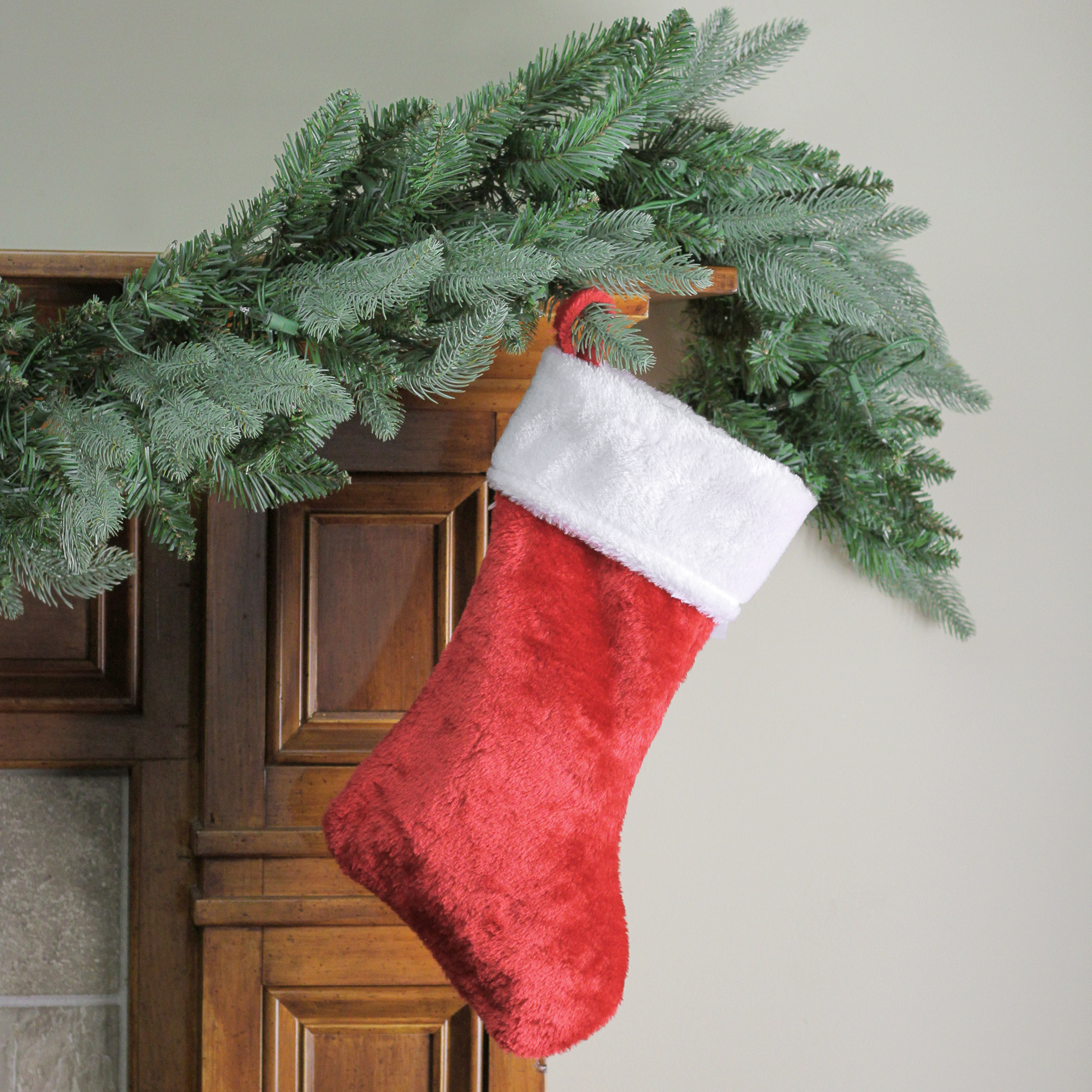 "17"" Traditional Red with White Plush Trim Hanging Christmas Stocking"