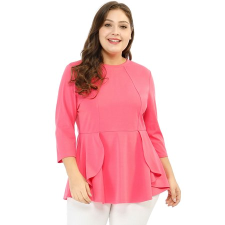 Unique Bargains - Women\'s Round Neck 3/4 Sleeve Plus Size Bodycon ...