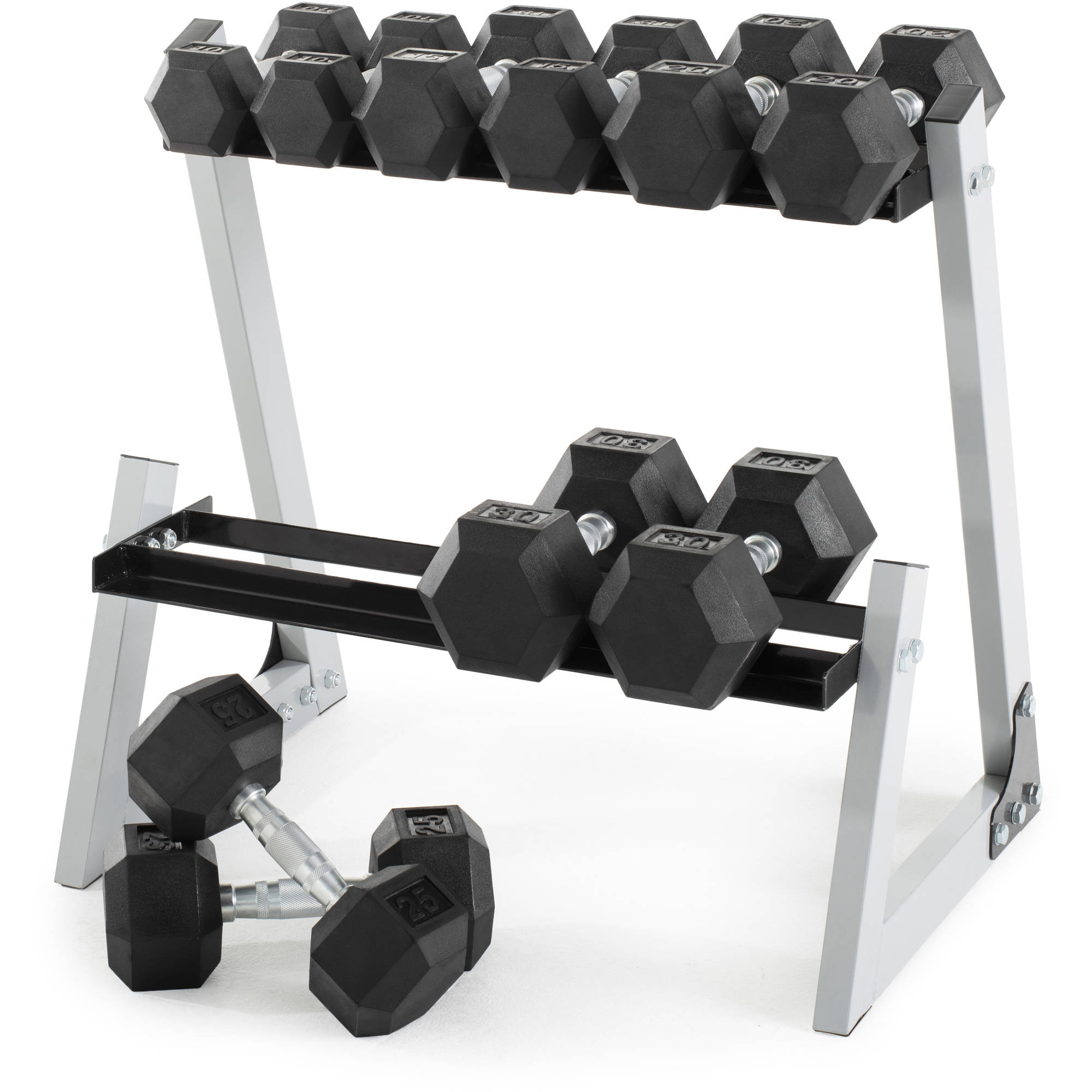 Weider 200 lb Rubber Hex Dumbbell Weight Set, 10-30 lb with Rack Box