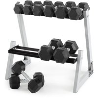 Weider 200-Lb. Rubber Hex Dumbbell Set with Rack