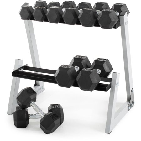 Weider 200 Lb Rubber Hex Dumbbell Weight Set  10 30 Lb With Rack Box