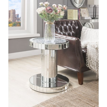 - ACME Ornat Round End Table in Mirrored and Faux Stones