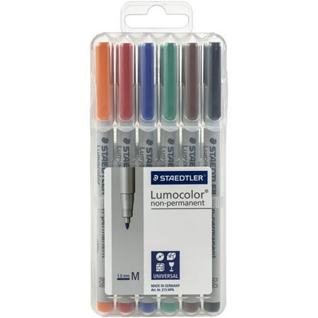 Staedtler 315WP6 Non-Permanent Lumocolor Pens - Pack of 6