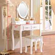 UBesGoo Elegance White Dressing Table Vanity Table and Stool Set Wood Makeup Desk with 4 Drawers & Mirror