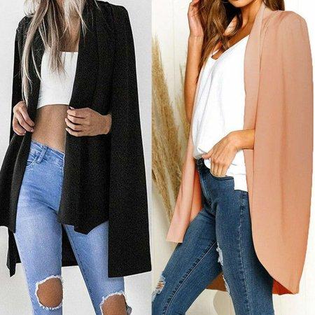 Women Office Lady Long Sleeve Lapel Split Coat Pockets Blazer Cape Office Suit