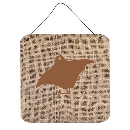 Rays Hanging - Manta ray Burlap and Brown Aluminium Metal Wall or Door Hanging Prints BB1014