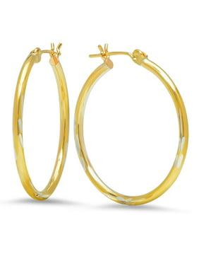 Jewelers 14K Gold Bonded 2x30MM Diamond-cut Hoop Earrings BOXED