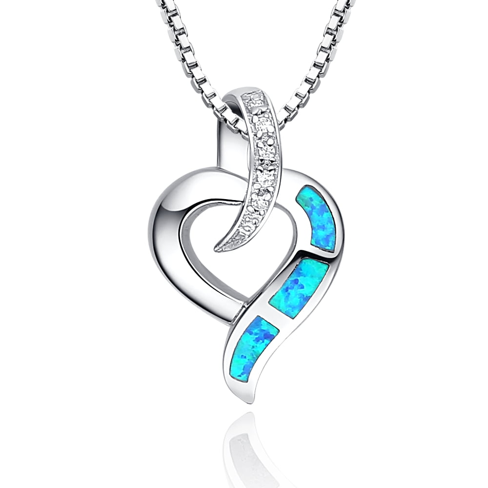 Sterling Silver Heart W. Blue and Green Fire Opal Women's Pendant Necklace Come with 18 Inch 1mm Rhodium Plated Italian... by