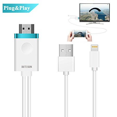 DUTISON Phone to TV Cable, Phone to HDMI Adapter Digital AV to 1080P HDTV Cord Converter Compatible for Phone X/8/8+/7/7+/6/6+/5S HDMI Connector Dongle for Pad Pod Pro Air Mini Plug and Play- 6ft 6' Pro Series A/v Cable