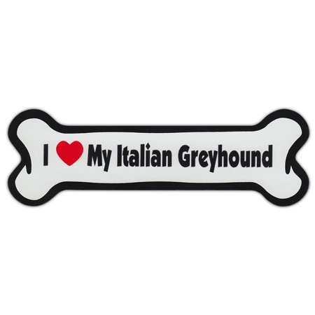 Dog Bone Shaped Car Magnets: I Love My Italian Greyhound (Greyhound Dog Magnet)