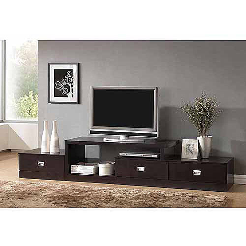 """Wholesale Interiors Marconi Asymmetrical Modern TV Stand for TVs up to 94"""", Dark Brown"""
