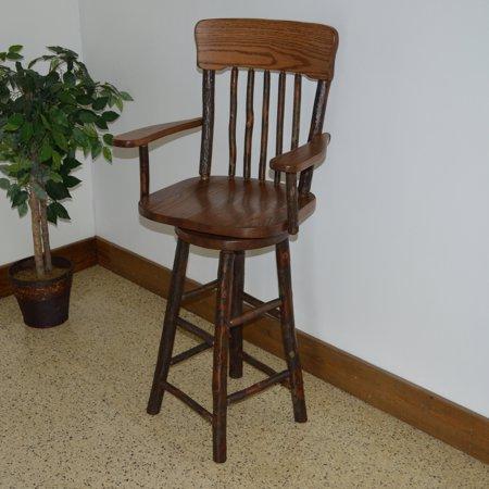 A L Furniture Hickory Panel Back Swivel Bar Stool