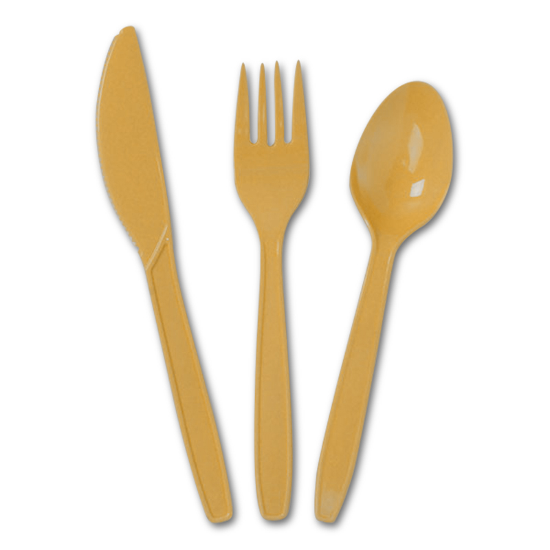 18ea - Yellow Plastic Cutlery Set  by Paper Mart