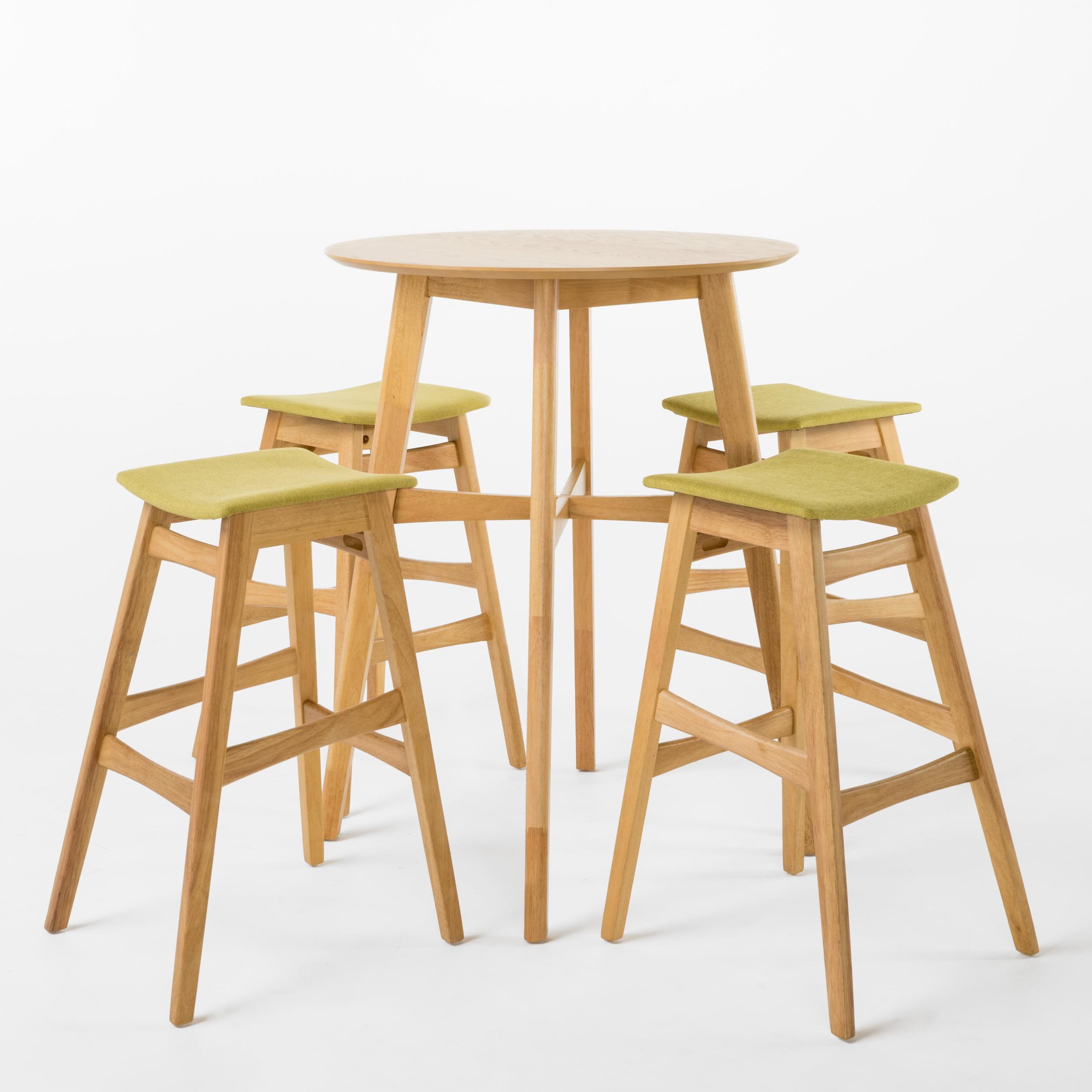 Lassette Circular 5-Piece Bar Height Dining Set, Green Tea/ Natural Oak Finish