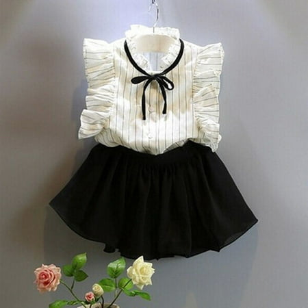 2pcs Toddler Kids Baby Girls Outfits T Shirt Tops+Shorts Skirt Dress Clothes Set 2-7Years