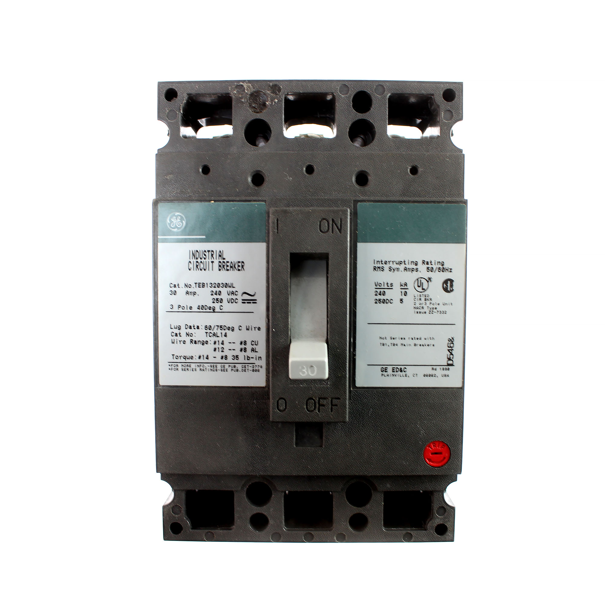 GE TEB132030WL Industrial Molded Case Circuit Breaker, 30A, 240VAC, 3-Pole, TEB