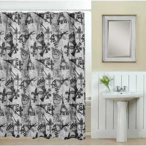 Luxury Home 13 Piece Paris Printed Fabric Shower Curtain With Roller Hooks