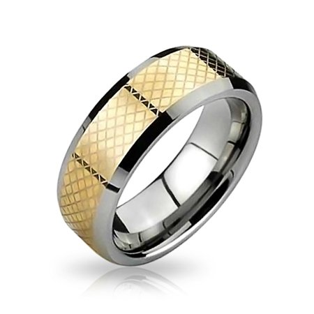 Geometric Simple Couples Titanium Wedding Band Ring For Men For Women Silver Gold Two Tone Comfort Fit 8MM - image 5 of 5
