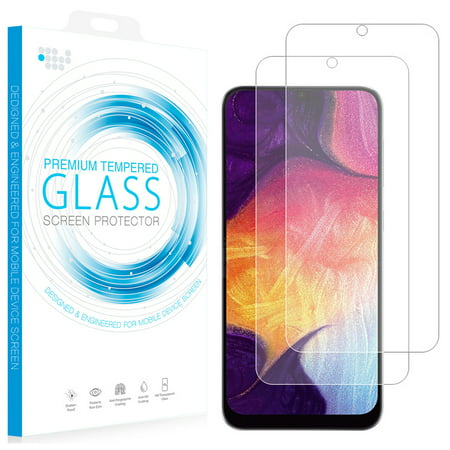 Galaxy A50/A30 Tempered Glass, 2X Nakedcellphone 9H Hard Clear Screen Protector Guard [Crack Saver] for Samsung Galaxy A50 (2019) or Galaxy A30