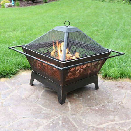 Northern Galaxy Square Wood Burning Fire Pit  32 Inch  With Cooking Grate And Spark Screen By Sunnydaze Decor