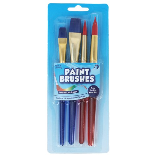 KIDS CRAFT Paint Brush with Grips, 4pk
