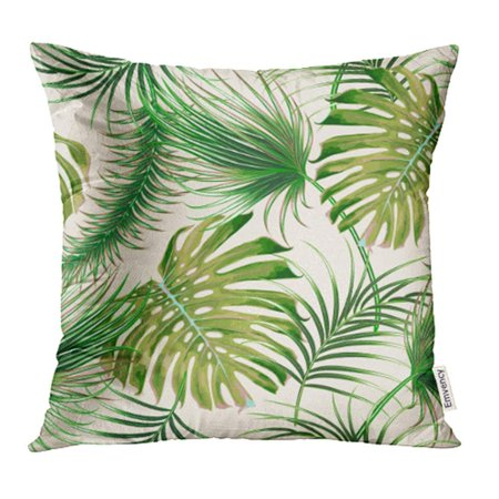 USART Beige Foliage Tropical Palm Leaves Jungle Monstera Leaf Floral Pattern Green Tree Pillow Case Pillow Cover 16x16 inch Throw Pillow Covers](Jungle Leaf)