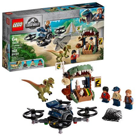 LEGO Jurassic World Dilophosaurus on the Loose Plane Drone Toy Dinosaur Building Set 75934