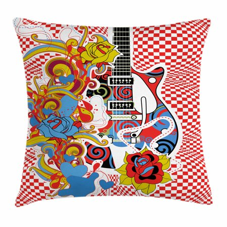 Rock Music Throw Pillow Cushion Cover, Colorful Abstract Floral Elements with Sixties Inspired Guitar Design Checkered, Decorative Square Accent Pillow Case, 18 X 18 Inches, Multicolor, by Ambesonne