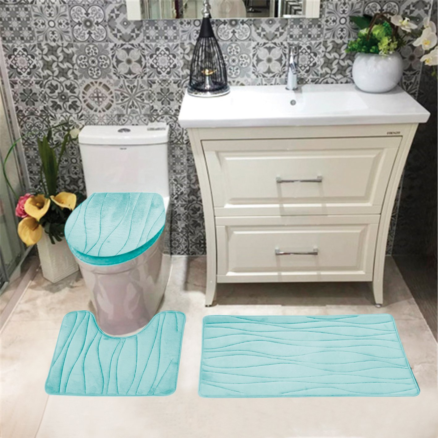 Connie Embossed Foam Plush 3pc Microfiber Bathroom Rug Set, Bath Mat, Contour Rug, Universal Lid Cover, Great Absobent With Anti Slip PVC Mesh Backing, Aqua
