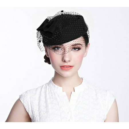 Pillbox Hat, Aniwon Wedding Cocktail Party Hat with Veil Vintage Bow Fascinator Hats for Women Ladies Girls(Black) (Peacock Fascinator)