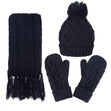 3 In 1 Warm Thick Cable Knitted Hat Scarf   Gloves Winter Set  Black