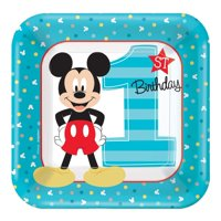 "7"" Mickey Mouse Square Paper Party Plate, 8ct"