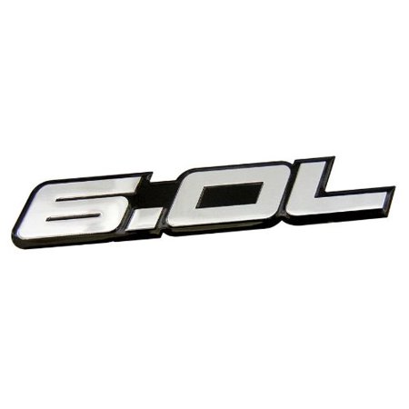 6.0L Liter in SILVER on BLACK Highly Polished Aluminum Car Truck Engine Swap Nameplate Badge Logo Emblem for Ford Excursion F250 F350 Turbo Diesel Super Duty Truck Powerstroke Diesel