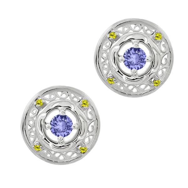 0.66 Ct Round Blue Tanzanite Canary Diamond 14K White Gold Earrings