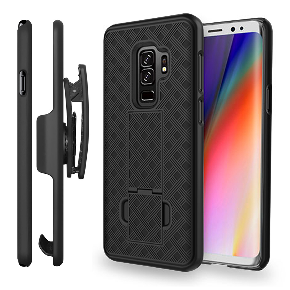Samsung Galaxy S9 Plus Case, Stylish Protective Shellster Shell Cover with Belt Clip Holster,Kickstand and Rubberized finish for Samsung Galaxy S9 Plus - Black
