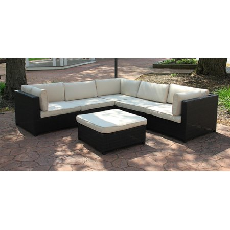 Black Resin Wicker Outdoor Furniture Sectional Sofa Set