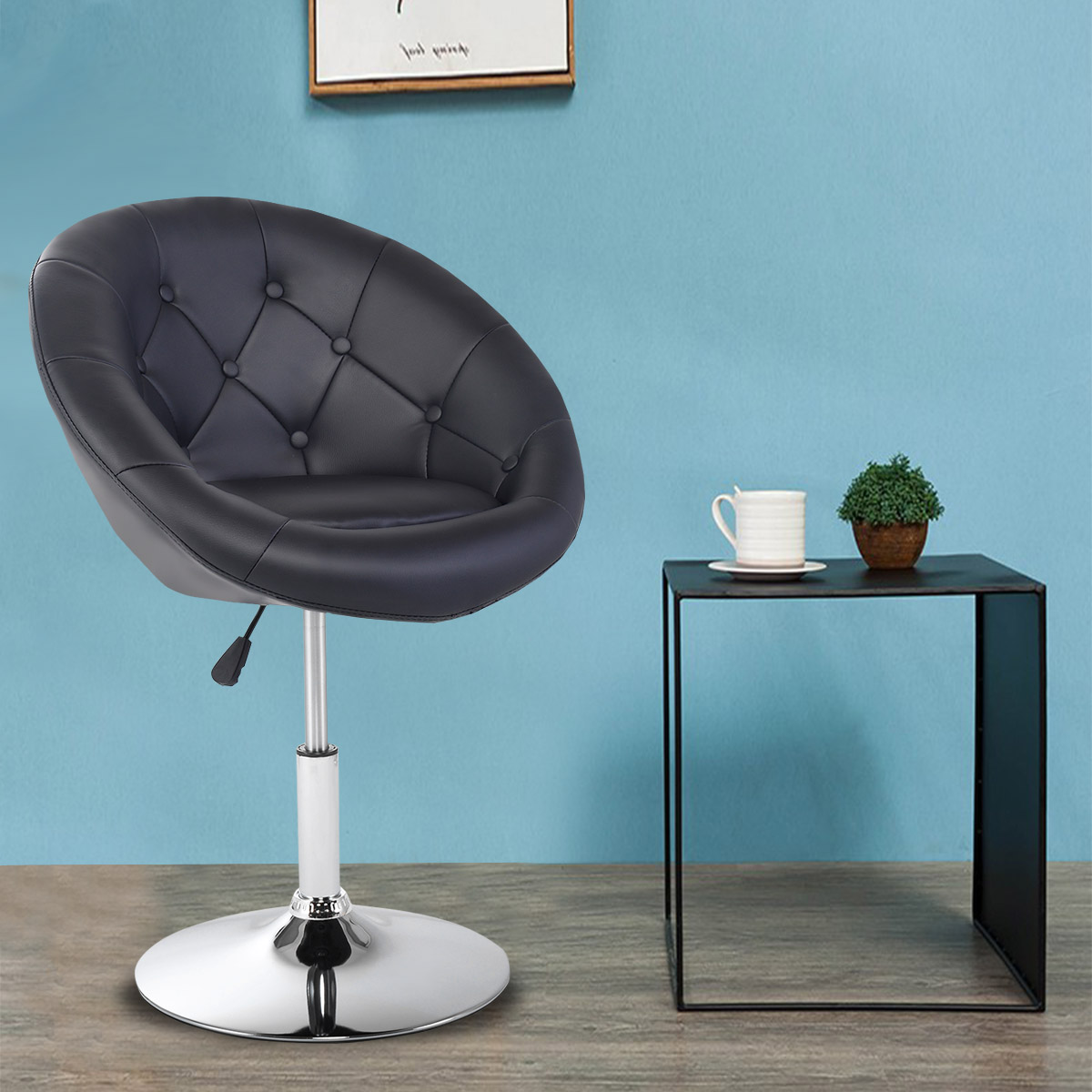 Gymax PU Leather Adjustable Modern Chair Swivel Round Tufted Back Black