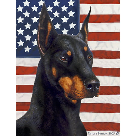Doberman Cropped Black and Tan - Best of Breed Patriotic II Garden