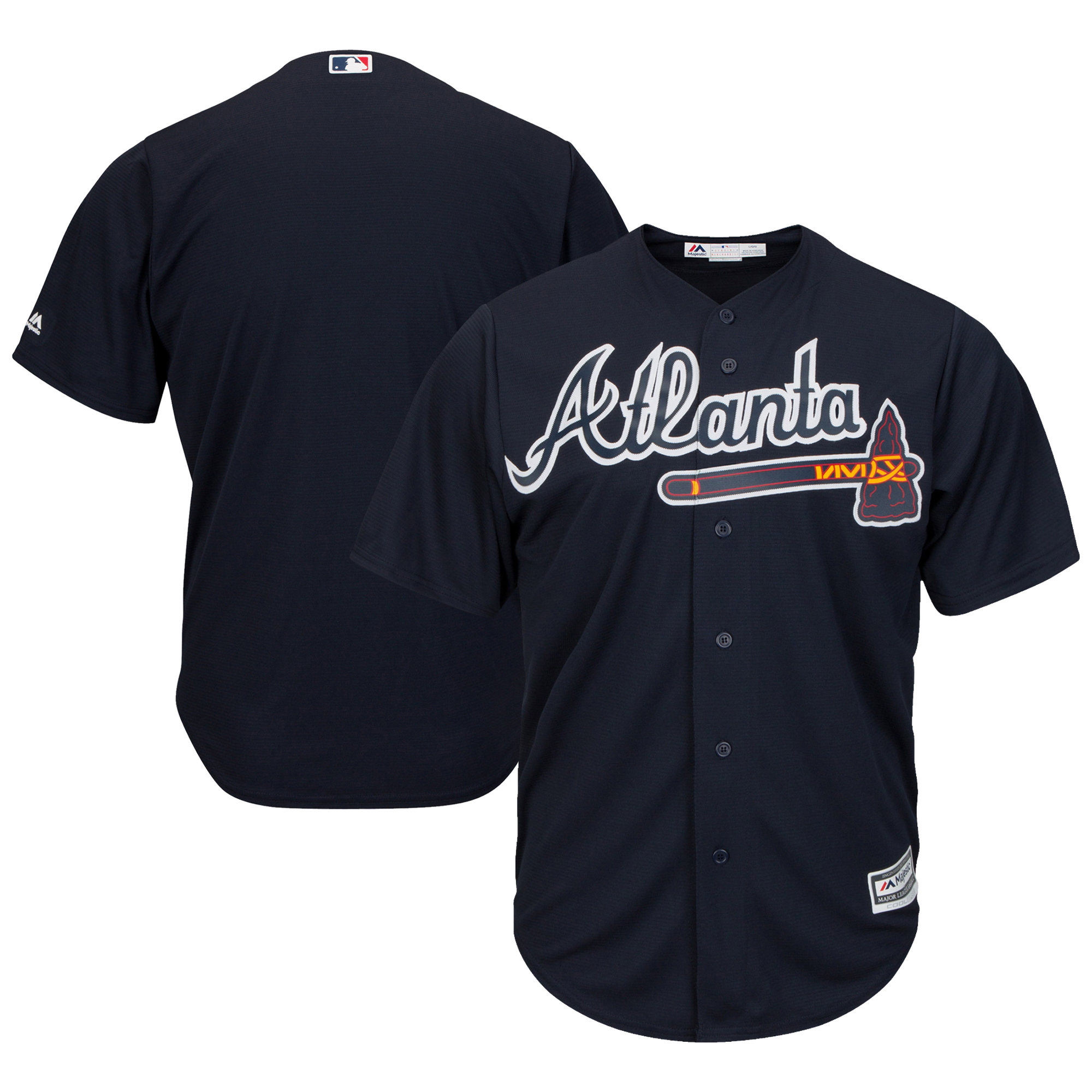 Atlanta Braves Majestic Youth Official Cool Base Jersey - Navy