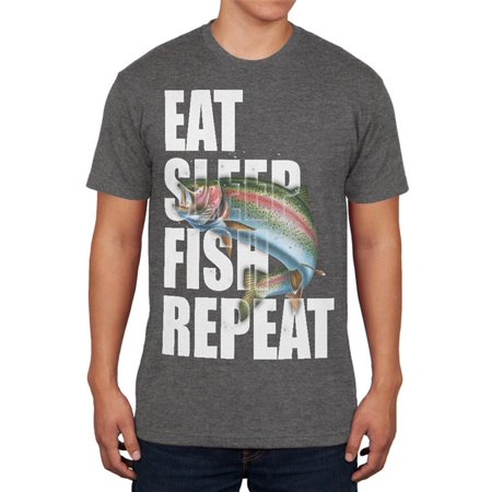 - Eat Sleep Fish Repeat Rainbow Trout Mens Soft T Shirt