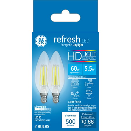 GE LED 5.5W HD Refresh Daylight Decorative Blunt Tip, Small Base, Dimmable, 2pk Light Bulbs