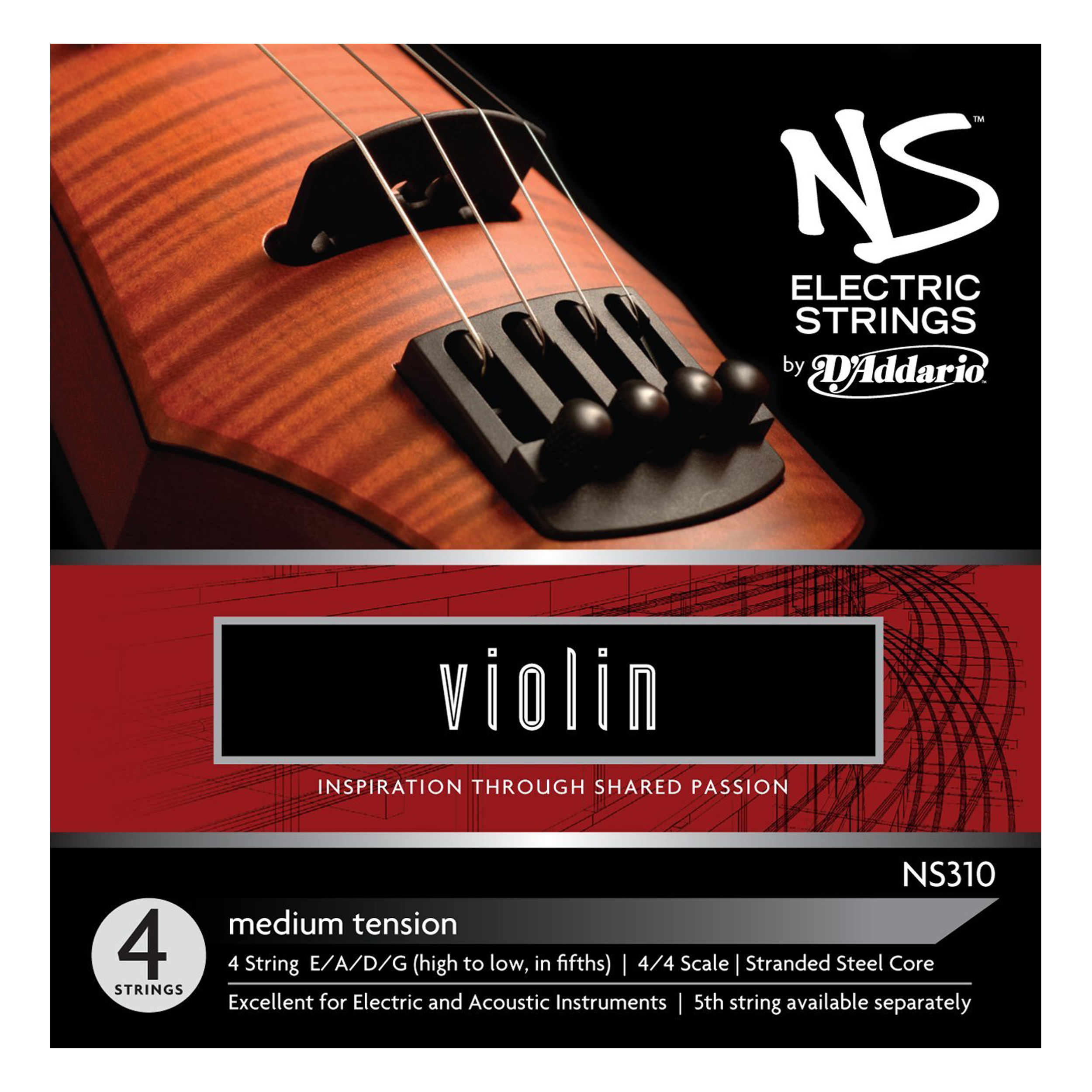 D'Addario NS310 Electric Violin String Set, 4 4 Scale, Medium Tension by D'Addario