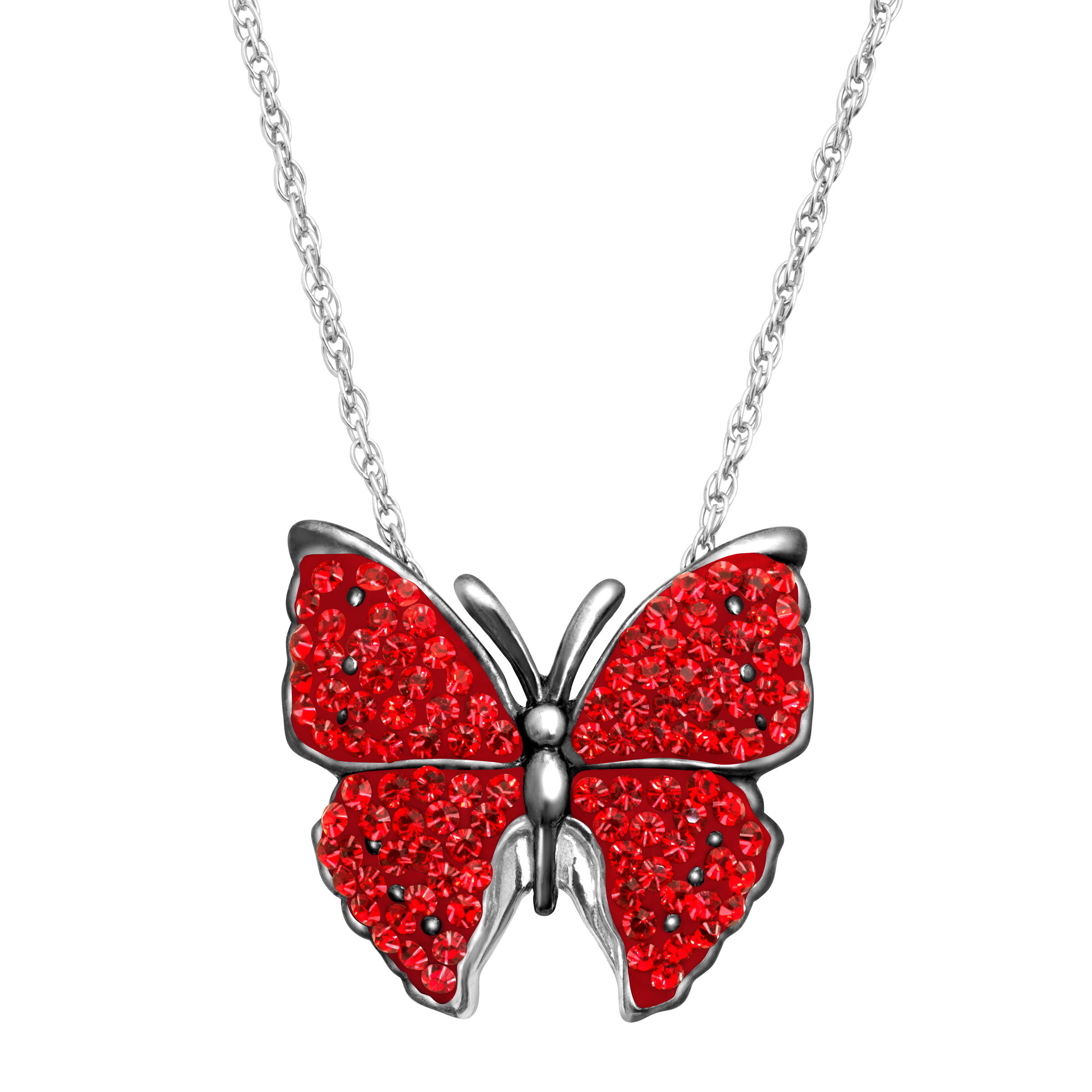 Animal Planet Butterfly Pendant Necklace with Swarovski Crystals in Sterling Silver