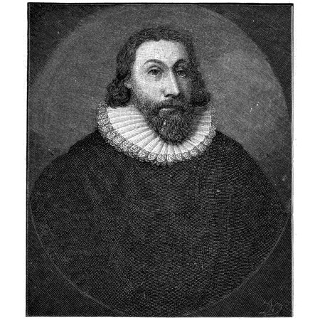John Winthrop  1588 1649  Namerican Colonist And First Governor Of Massachusetts Bay Colony Wood Engraving 19Th Century Rolled Canvas Art     18 X 24