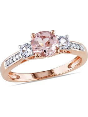 Tangelo 1-1/7 Carat T.G.W. Morganite, Created White Sapphire and Diamond-Accent 10kt Rose Gold Three-Stone Ring