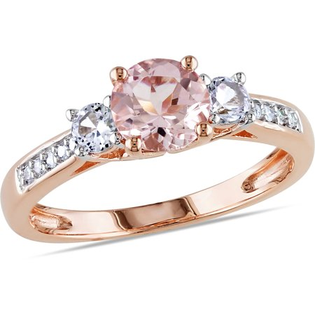 1-1/7 Carat T.G.W. Morganite, Created White Sapphire and Diamond-Accent 10kt Rose Gold Three Stone Ring (Tiffany Rose Ring)
