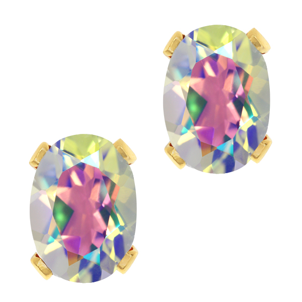 1.90 Ct Oval Shape Mercury Mist Mystic Topaz Yellow Gold Brass Stud Earrings