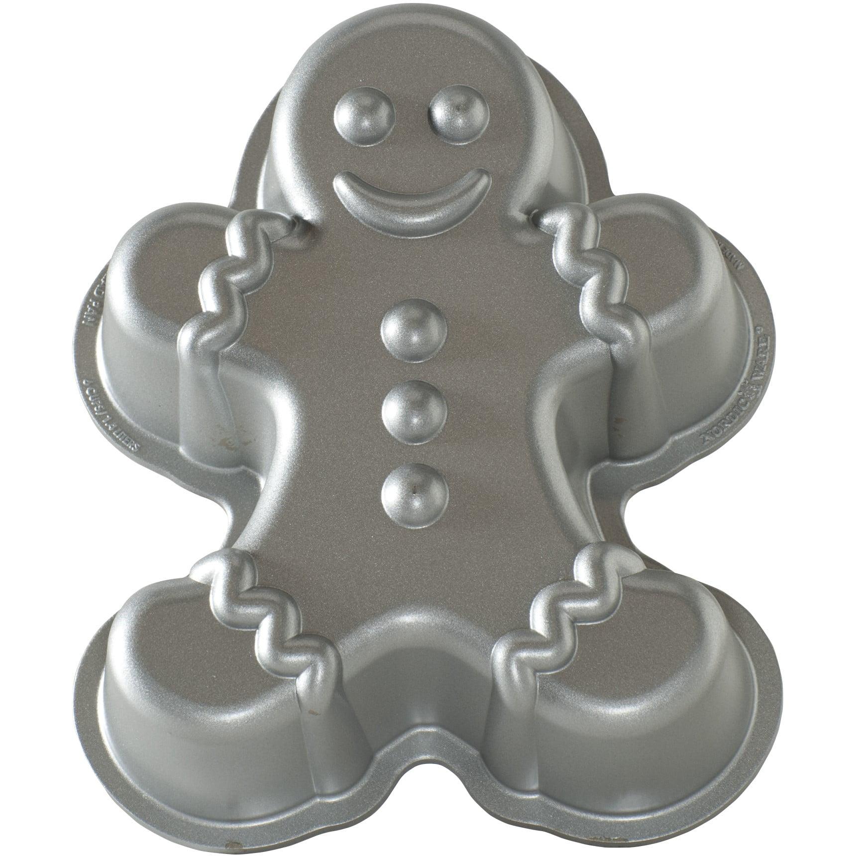 Nordic Ware Brushed Cast Aluminum Gingerbread Man Cake Pan