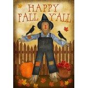 "Happy Fall Y'all House Flag Decorative Scarecrow & Crow Fall Autumn 28"" x 40"""