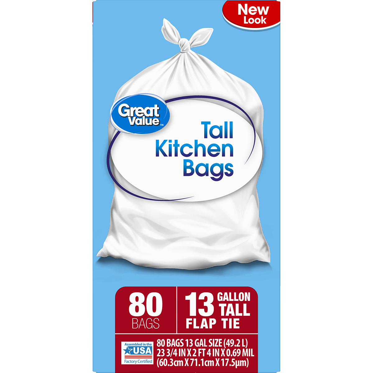 Great Value Tall Kitchen Flap Tie Trash Bags, 13 Gallon, 80 Count ...